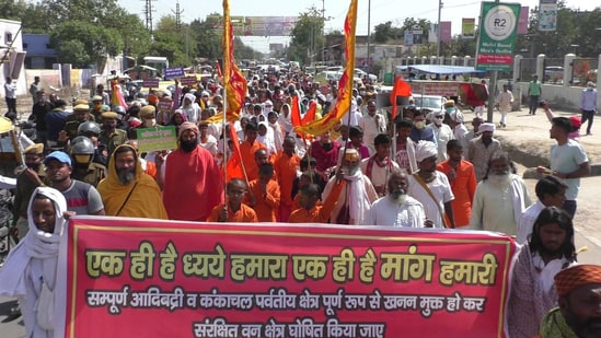 Protest against illegal mining in Bharatpur. (HT Photo)
