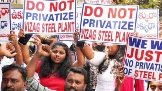 A protest scene in Andhra Pradesh.