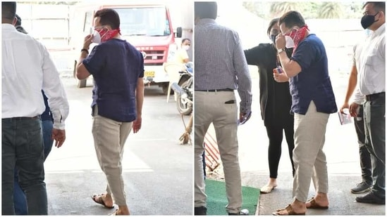 Saif Ali Khan was seen at a vaccination centre in Mumbai on Friday.