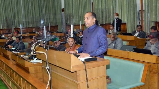 Himachal Pradesh Chief Minister Jai Ram Thakur presents the budget of the state for the year 2021-22 in the assembly in Shimla on March 6, 2021. (ANI Photo)