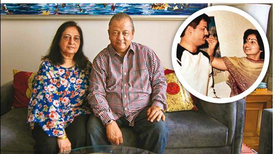 Hemant Oberoi and his wife Mallika at 22 and 17 (inset) and now (above), at 67 and 62, respectively