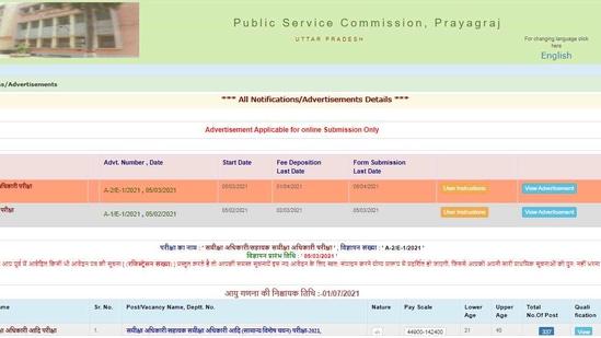 UPPSC RO and ARO recruitment 2021.(Screengrab )