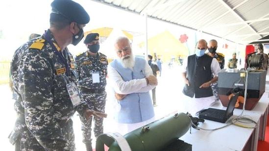Prime Minister Narendra Modi at the Combined Commanders' Conference in Gujarat's Kevadia on Saturday. (@narendramodi/Twitter Photo )
