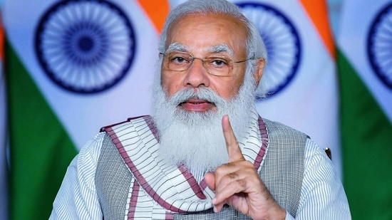 PM Modi in his address also asked students to practice three mantras. He said that students should follow the goals set by them in their lives by following the mantras of self-confidence, self-awareness and selflessness.(PTI Copy)