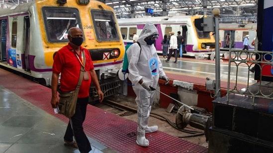 Mumbai: Civic workers sanitize the premises CSTM amid coronavirus pandemic in Mumbai, Tuesday, Feb. 23, 2021. (PTI Photo)(PTI02_23_2021_000161B)(PTI)