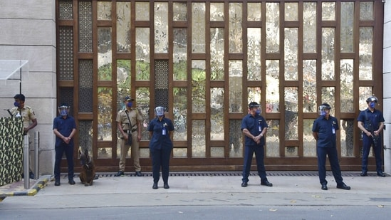 Police security outside Mukesh Ambani's residence Antilla, after explosives were found in an abandoned car in its vicinity, in Mumbai.(PTI)