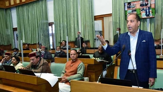 HP chief minister Jai Ram Thakur addressing during the budget session of the state assembly in Shimla on Tuesday. (ANI)
