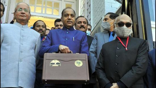 Himachal CM Jai Ram Thakur before the budget presentation in Himachal Vidhan Sabha on Saturday. (DEEPAK SANSTA/HT)