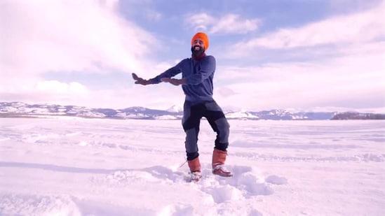 Gurdeep Pandher dances on a frozen lake. (Twitter/@GurdeepPandher )