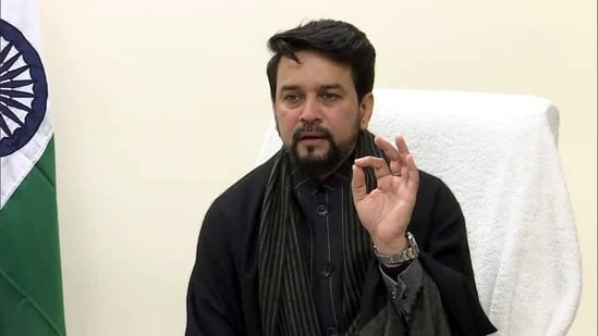 Union minister of state for finance and corporate affairs Anurag Thakur on Saturday addressed the Punjab chapter of Entrepreneurs Organisation. (ANI File Photo )