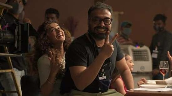 Taapsee Pannu and Anurag Kashyap on the sets of Dobaaraa.