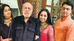 Actor Bindiya Goswami and filmmaker JP Dutta with their daughter Nidhi Dutta and son-in-law Binoy Gandhi