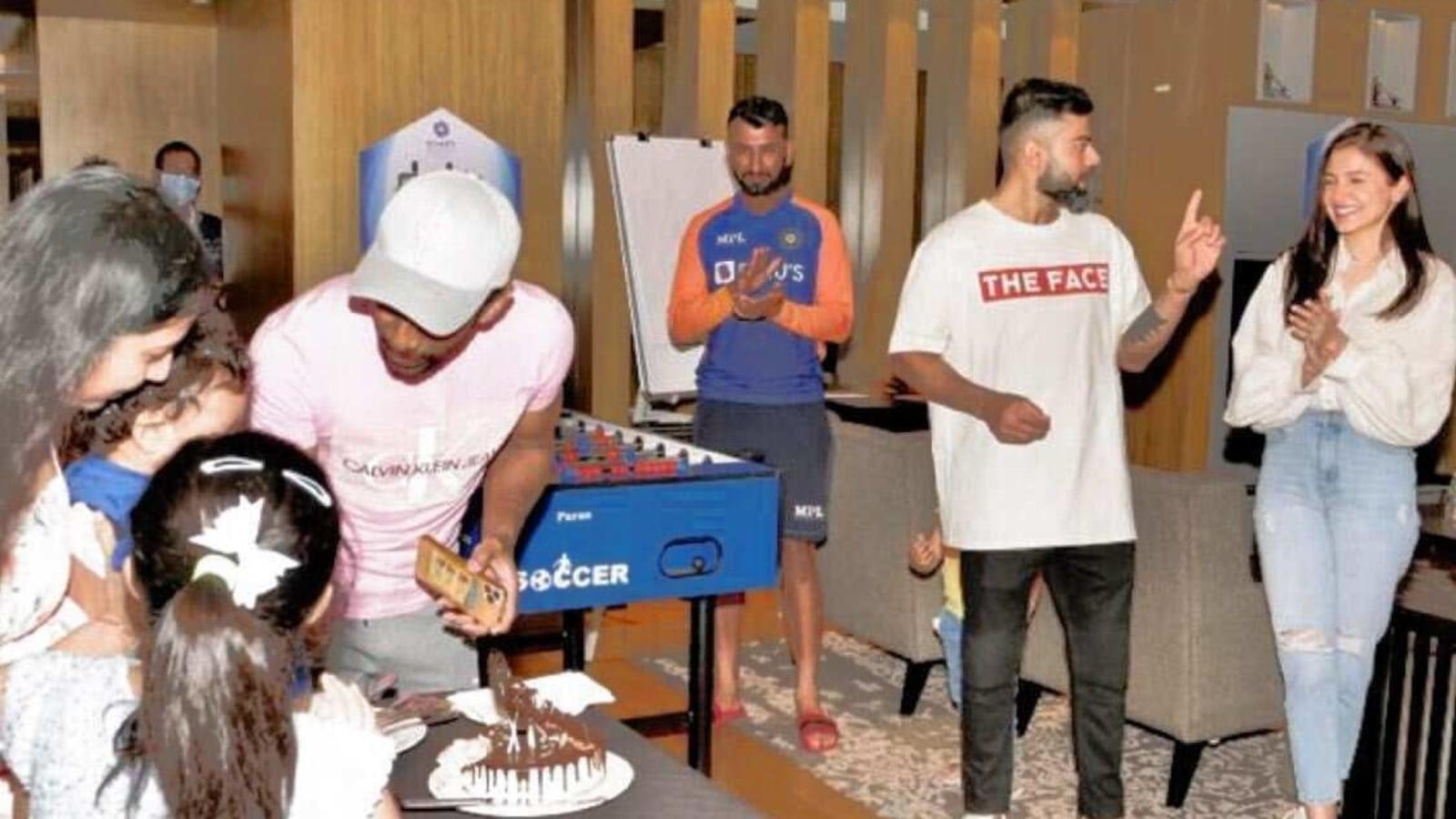 Virat Kohli and Anushka Sharma let their hair down at Wriddhiman Saha's son's birthday party. See photos - Hindustan Times