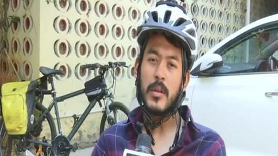 Rohan Philem Singh, a cyclist who has been conducting cycling campaigns since 2018 for various humane and environmental issues,(ANI)