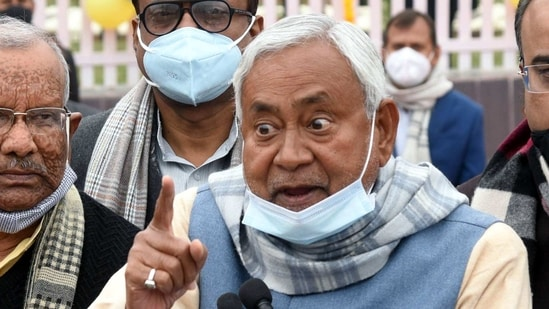 """""""Aap unhi se puchiye (ask him only),"""" CM Nitish Kumar said on Sunday after reporters asked what he had to say about the Union minister's remark.(ANI Photo)"""
