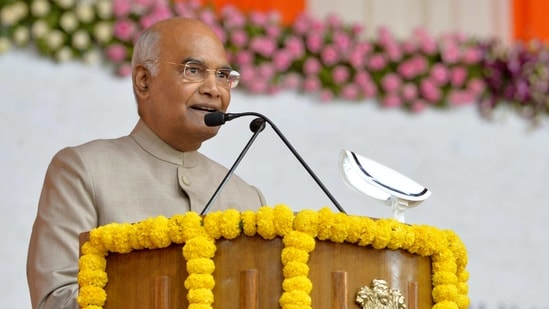 President Ram Nath Kovind during the inauguration of Sardar Vallabhbhai Patel Sports Enclave and Narendra Modi Stadium, at Motera in Ahmedabad on Wednesday. (ANI Photo)