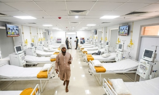 A view inside the 101-bed kidney dialysis facility at Bala Sahib Hospital Complex launched by Delhi Sikh Gurudwara Management Committee, at Sarai Kale Khan in New Delhi. (Amal KS/ Hindustan Times)