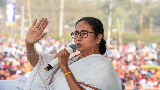 West Bengal Chief Minister Mamata Banerjee addresses a public meeting, at Sahaganj in Hooghly district. (PTI)