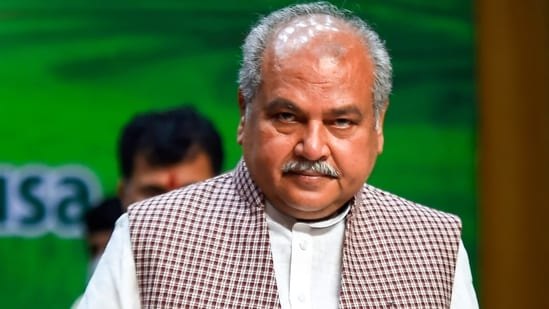 Union agricultural minister Narendra Singh Tomar at an event in New Delhi last month.(PTI File Photo)