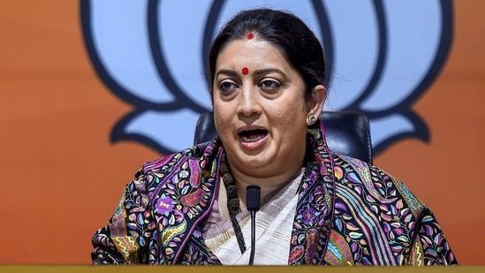 Union minister Smriti Irani addresses a press conference, in New Delhi. (PTI)