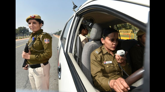Women police personnel with all women PCR van at Rajpath in New Delhi. (Photo:Ravi Choudhary/HT)