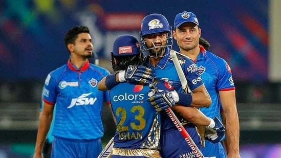 Dubai: Mumbai Indians players celebrate after winning the final cricket match of the Indian Premier League (IPL) T20 against Delhi Capitals, at Dubai International Cricket Stadium in Dubai, Tuesday, Nov. 10, 2020.(PTI)
