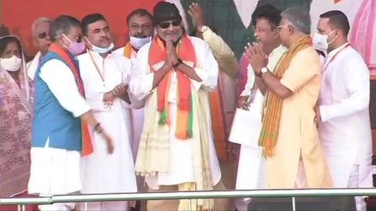 Actor Mithun Chakraborty joined the BJP in Kolkata on Sunday.(ANI Photo)