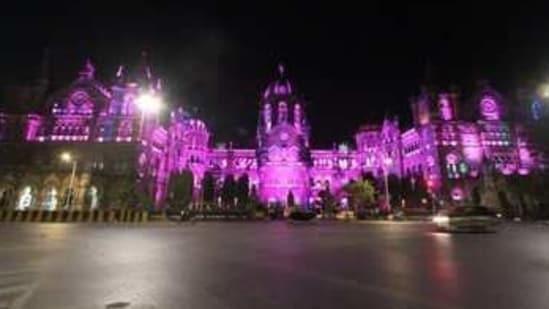 Mumbai's Chhatrapati Shivaji Maharaj Terminus was seen lit up ahead of International Women's Day(ANI Twitter)