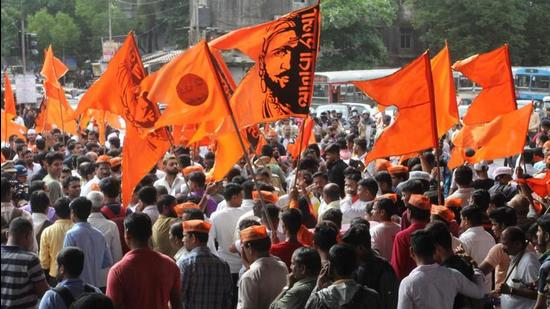 Maratha Kranti Morcha activists protest for reservation in jobs and education, July 25, 2018 (HT PHOTO)