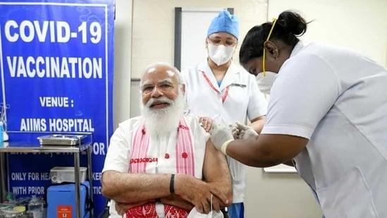 Prime Minister Narendra Modi received his first dose of Covid-19 vaccine, at AIIMS in New Delhi, last Monday. (ANI Photo )