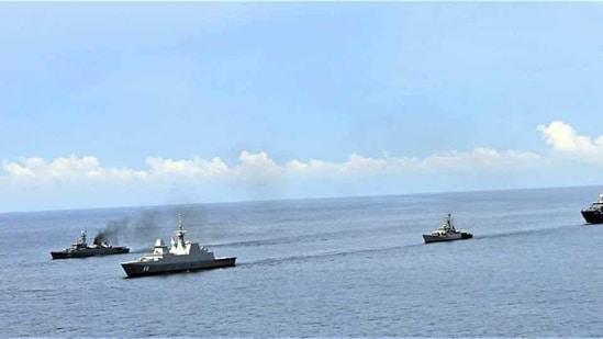 Indian Navy ships in the Andaman Sea.(Representational image/ANI)