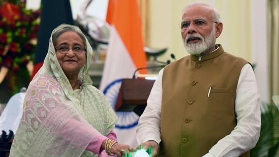 "Prime Minister Sheikh Hasina, during the virtual summit with PM Modi in December, had stressed that India was Bangladesh's 'true friend"".(HT Photo/Mohd Zakir)"