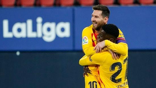 Barcelona's Ilaix Moriba celebrates scoring their second goal with Lionel Messi REUTERS/Vincent West(REUTERS)