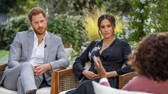 Harry and Meghan, known as the Duke and Duchess of Sussex, announced they were quitting royal duties last year. REUTERS(VIA REUTERS)