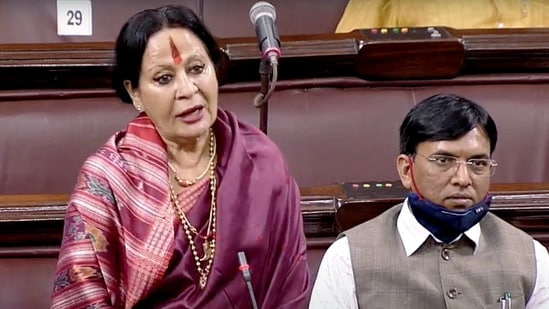 BJP MP Sonal Mansingh addresses during the second phase of the Budget Session of Parliament, in New Delhi. (ANI Photo/ RSTV)