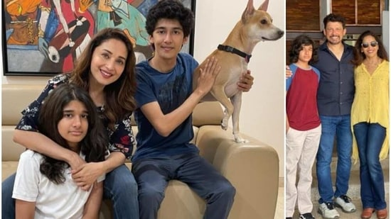 Madhuri Dixit with her family members.