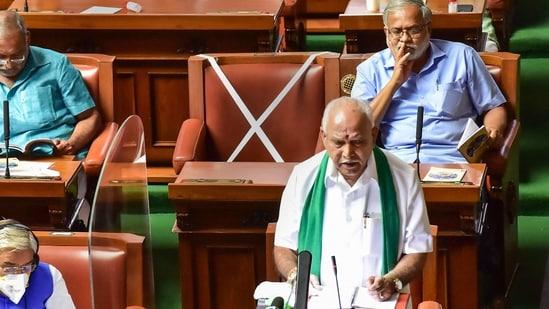 Karnataka chief minister BS Yediyurappa presents the state budget 2021-22 in the Vidhana Soudha, Bengaluru, March 8, 2021. (PTI Photo)