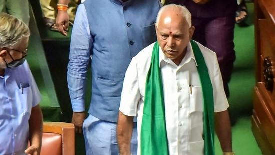 Karnataka chief minister BS Yediyurappa arrives to present the state budget 2021-22 in the Vidhana Soudha, Bengaluru, March 8, 2021. (PTI Photo)