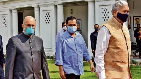 L-G Anil Baijal and chief minister Arvind Kejriwal arrive for the Budget session at the Delhi assembly on Monday. Raj K Raj/HT PHOTO