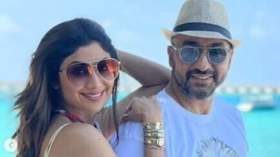Shilpa Shetty and husband Raj Kundra during their recent Madives vacation.