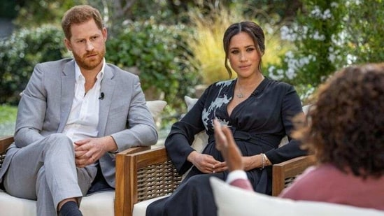 Harry and Meghan interviewed by Oprah Winfrey. (Reuters)