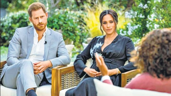 Harry and Meghan are interviewed by Oprah Winfrey in this undated hand-out photo. (REUTERS)