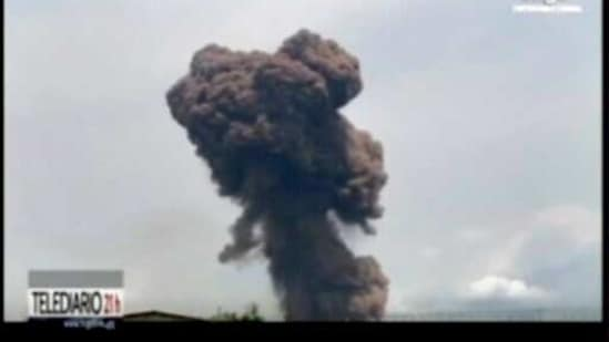 This TVGE made from video shows smoke rising over the blast site at a military barracks in Bata, Equatorial Guinea, Sunday.(AP)