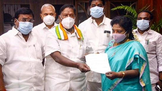 By toppling a Congress government in Puducherry, the BJP has sent a message to neighbouring Tamil Nadu, where it is contesting the assembly elections with the ruling All India Anna Dravida Munnetra Kazhagam, that the Congress is a greatly diminished force, and the party can be vanquished at any time. (PTI)(HT_PRINT)
