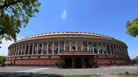 New Delhi, India - April 20, 2020: A view of the Parliament House seen as Lok Sabha and Rajya Sabha secretariats resumed work from today after they were shut in the last week of March due to the COVID-19 outbreak, in New Delhi, India, on Monday, April 20, 2020. (Photo by Mohd Zakir/HT Archive) (Mohd Zakir/HT Archive)