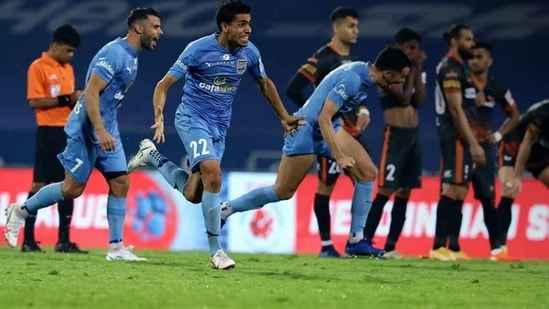 Mumbai City players are over the moon after the winning penalty was scored. (ISL)