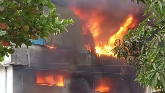The blaze had charred the premises of the factory and was still raging.(Sourced Photo)