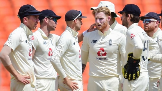 Ben Stokes (centre) with teammates during 4th Test against India in Ahmedabad,(PTI)