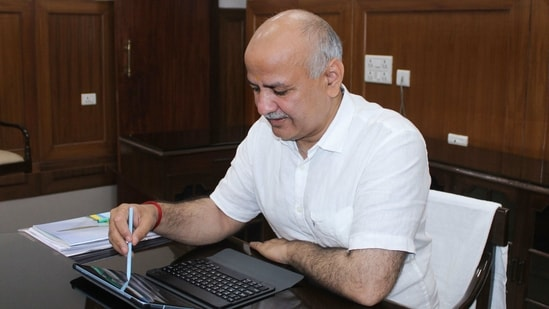 Deputy chief minister Manish Sisodia oversees Delhi's budget for 2021-22 on a tablet device, on Monday. He presented the national capital's first paperless budget today.(PTI Photo)