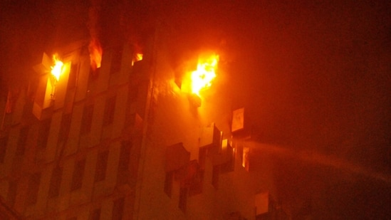 Fire breaks out at the 12th floor of a multi-storeyed building in Kolkata, Monday, March 8, 2021. (PTI Photo)(PTI)